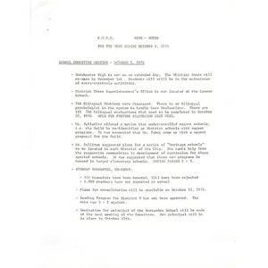 C.W.E.C. news- notes. For the week ending October 8, 1976.