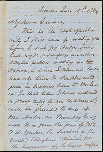 Letter from George Thompson, London, [England], to William Lloyd Garrison, 1864 Jan[uary] 15th