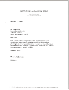 Letter from Mark H. McCormack to Dick Nunis