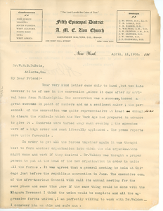 Letter from Alexander Walters to W. E. B. Du Bois