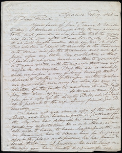 Letter from Samuel Joseph May, Syracuse, [NY], to Maria Weston Chapman, Feb. 19, 1846