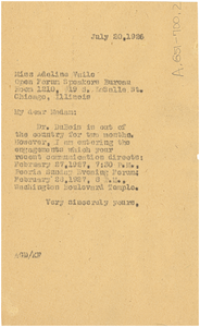 Letter from Augustus Granville Dill to Open Forum Speakers Bureau