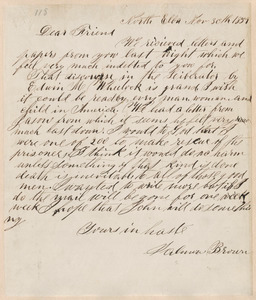 Salmon Brown autograph letter signed to [Thomas Wentworth Higginson], North Elba, [N.Y.], 30 November 1859