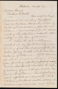 Letter from Lucretia Mott, Philad[elphi]a, [Pa.], to Richard Davis Webb, 10 mo. [October] 9th. [18]62