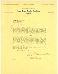 Letter from Fritz Cansler to W. E. B. Du Bois