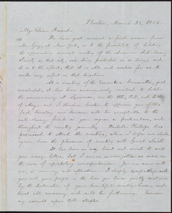 Letter from William Lloyd Garrison, Boston, [Mass.], to Samuel Joseph May, March 23, 1852