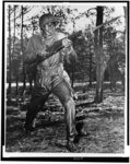 [Afro-American soldier charging with bayonet fixed, in combat training, U.S. Naval training center, Great Lakes, Ill.]