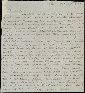 Letter from Emma Forbes Weston, Office, [Boston?], to Deborah Weston, Sat. afternoon, [1842?]