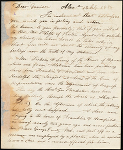 Letter from John Bell, Alexa[ndria, Virginia], to William Lloyd Garrison, 1834 July 13