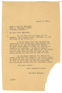 Letter from A. G. Dill to Louise R. McKinney