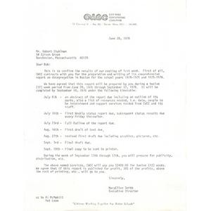 Letter, Robert Stuhlman, June 28, 1976.