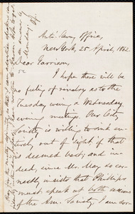 Letter from Oliver Johnson, New York, [N.Y.], to William Lloyd Garrison, 25 April, 1862