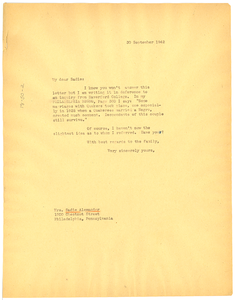Letter from W. E. B. Du Bois to Sadie T. M. Alexander