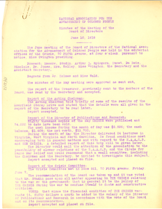 NAACP Minutes of the meeting of the Board of Directors