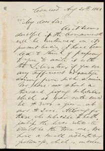 Letter from Franklin Benjamin Sanborn, Concord, [Mass.], to William Lloyd Garrison, Aug. 20, 1863