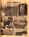 Photomontage of people in a cotton field, a cat, the George Washington Memorial Bridge, a Revolutionary War reenactment, a Fisk University building, and a passenger ship. Nashville Banner, 1931 October 25.