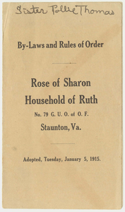 Rose of Sharon Household of Ruth, No. 79, by-laws and rules of order, 1915 January 5
