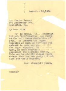 Letter from W. E. B. Du Bois to Junior Veasey
