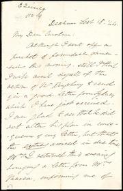 Letter to] My Dear Caroline [manuscript