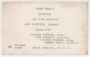 Advertisement for Roy Eldridge at Jimmy Ryan's club in New York City