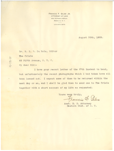 Letter from Francis F. Giles to W. E. B. Du Bois