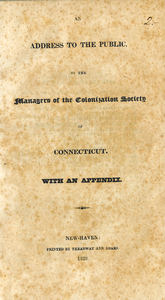 Thumbnail for An address to the public by the managers of the Colonization Society of Connecticut