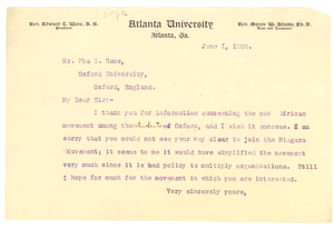 Letter from W. E. B. Du Bois to Pka I. Seme