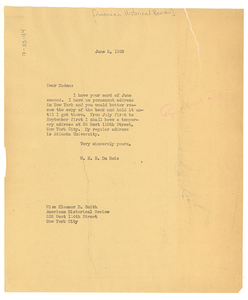Letter from W. E. B. Du Bois to the American Historical Review