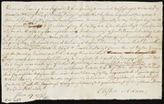 Declaration of his Intentions in selling a horse to British just prior to the Battle of Concord and his sentiments concerning spreading rumors of Negro revolt expressed in conversation with Katherine Adams, wife of Jonathan Adams [manuscript]