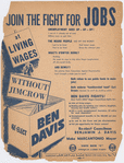 American Labor Party flyer supporting the re-election of New York City Councilman Benjamin J. Davis, 1949