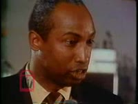 WSB-TV newsfilm clip of African Americans reacting negatively to mayor Sam Massell's speech on politics and government, Atlanta, Georgia, 1971 October 6