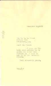 Letter from W. E. B. Du Bois to Paul W. L. Jones