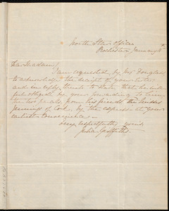 Letter from Julia Griffiths, North Star Office, Rochester, [N.Y.], to Anne Warren Weston, January 11th, [1849?]