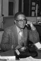 Arthur Shores talking on the telephone after being reelected to the city council in Birmingham, Alabama.