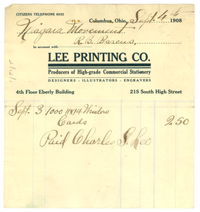 Thumbnail for Invoice from Lee Printing Company