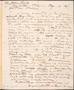 Letter from Joshua Leavitt, New York, to Amos Augustus Phelps, Aug, 19 '41
