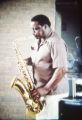 Photograph of James Tatum Trio Plus saxophonist, 1982 July 28