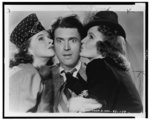 [Left to right: Linda Winters, James Stewart, and Frances Gifford, in costume for a film]