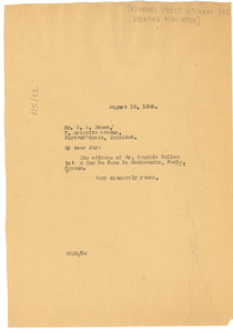 Letter from W. E. B. Du Bois to Richmond Street Literary and Debating Association