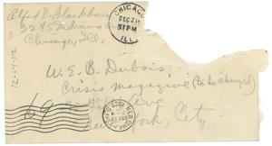 Letter from Alfred D. Blackburn to W. E. B. Du Bois