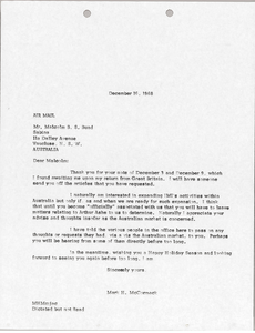 Letter from Mark H. McCormack to Malcolm B. S. Bund
