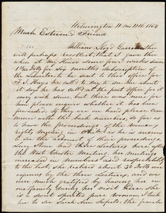 Letter from Thomas Garrett, Wilmington, [Delaware], to William Lloyd Garrison, 11 mo[nth] 11th [day] 1854