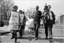 """Sanitation strike supporters on protest march through downtown Atlanta, Georgia, March 28, 1970. Photo part of a series labeled """"Strike march."""""""