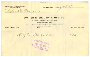 Invoice from Bucher Engraving and Manufacturing Company