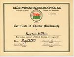 Black American Racers Association Certificate of Charter Membership to Dexter Miller