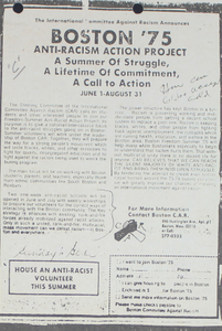 Boston '75: Anti-Racism Action Project: An Advertisement Supporting the Desegregation of the Boston Public Schools System