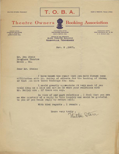 Letter: Nashville, Tennessee to Ben Stein, Macon, Georgia, 1927 Nov. 9