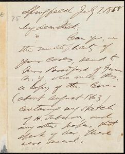 Letter from Franklin Benjamin Sanborn, Springfield [Mass.?], to William Lloyd Garrison, July 7.1888