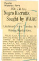 Negro recruits sought be WAAC; Lieutenant here Tuesday to receive applications; Courier (Waterloo, Iowa); Women's military activity