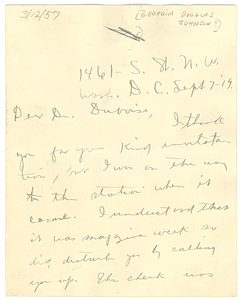 Letter from Georgia Douglas Johnson to W. E. B. Du Bois
